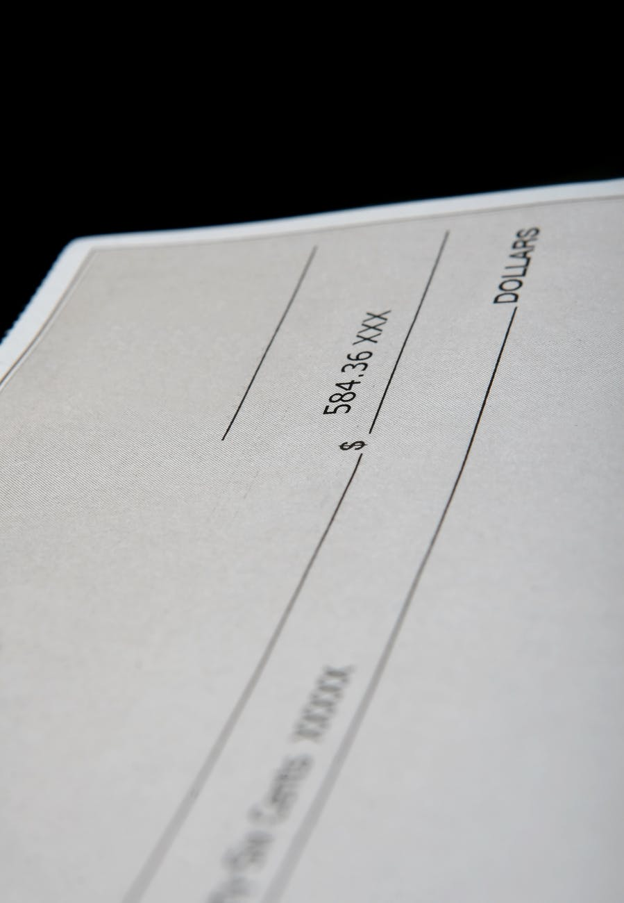 black and white check cheque close up